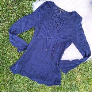 WHBM navy blue eyelet tunic sweater small